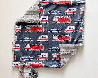 First Responders Lovey   Minky Blanket   lovey blanket   binky blanket   baby blanket   Minky Binky Blanket