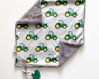 SALE RTS Little Green Tractor Lovey   Minky Blanket   lovey blanket   binky blanket   baby blanket   Minky Binky Blanket