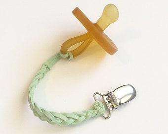 Mint leather Binky Clip   paci clip   pacifier clip   dummy clip