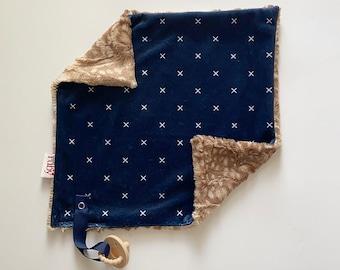 RTS Navy X Lovey   Minky Blanket   lovey blanket   binky blanket   baby blanket   Minky Binky Blanket