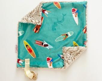 SALE RTS Little Surfer Lovey   Minky Blanket   lovey blanket   binky blanket   baby blanket   Minky Binky Blanket
