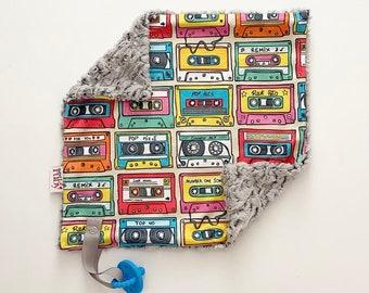 RTS 80s mixed tape Lovey   Minky Blanket   lovey blanket   binky blanket   baby blanket   Minky Binky Blanket