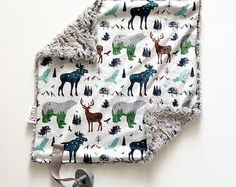 Pre Order Wildlife Lovey   Minky Blanket   lovey blanket   binky blanket   baby blanket   Minky Binky Blanket