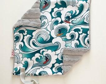 SALE RTS Hang Ten Lovey   Minky Blanket   lovey blanket   binky blanket   baby blanket   Minky Binky Blanket