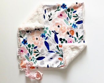 RTS Spring Floral Lovey   Minky Blanket   lovey blanket   binky blanket   baby blanket   Minky Binky Blanket