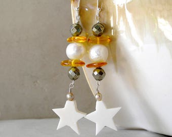 Celestial Star Earrings Baltic Amber Sterling Silver Pyrite Freshwater Pearl Boho Jewelry Metaphysical Healing Stones