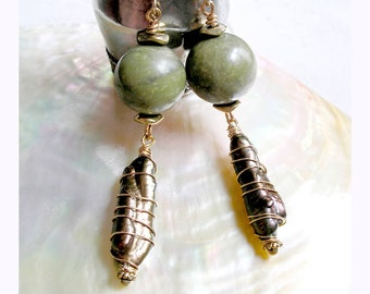 Green Serpentine Earrings Freshwater Pearl Wire Wrapped June Birthstone Metaphysical Healing Stones