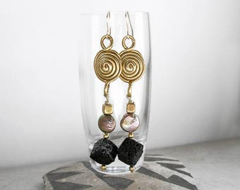 Art Deco Sacred Geometry Earrings, Mixed Medium Wearable Art, Geometric Jewelry, Long Earrings, Gift For Her