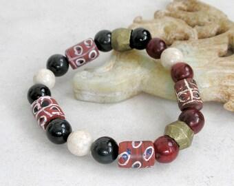 African Trade Bead Bracelet Gemstones Antique Brass Boho Jewelry