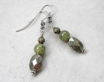 Pyrite Green Garnet Earrings, Fancy Sterling Silver Ear Wires, Wearable Art, January Birthstone, Boho Jewelry, Gift For Her
