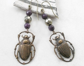 Scarab Earrings Brass Stamping Purple Jade Pyrite Wire Wrapped Metaphysical Healing Stones
