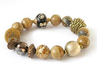 Picture Jasper Bracelet Earth Tone Stretch Bracelet Boho Jewelry Metaphysical Healing Stone