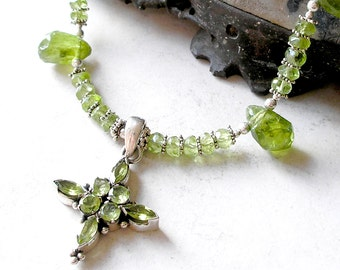 Peridot Sterling Silver Cross Necklace, Statement Necklace, Equilateral Cross, August Birthstone, Fine Jewelry, Art Nouveau, Gift For Her