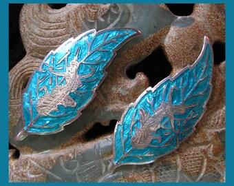 Vintage Siamese Fairy Earrings Nielloware Sterling Silver Blue Enamel Screw Back