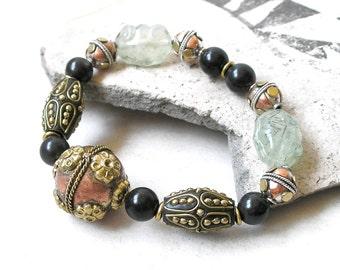 Ethnic Bracelet Gemstones Boho Jewelry Stretch Bracelet Prehnite Black Onyx Kashmiri Beads Mixed Metals