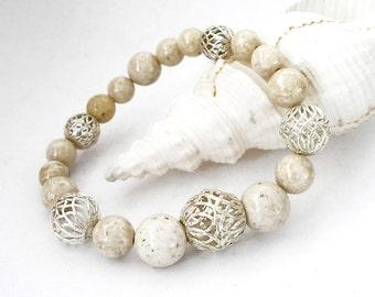 Riverstone Gemstone Bracelet Peruvian Silver Filigree Custom Made Stretch Bracelet Metaphysical Healing Stone