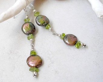Peacock Coin Pearl Peridot Earrings, Silver Wire Wrapped, Birthstones Jewelry, Long Earrings, Boho Jewelry, Gift For Her