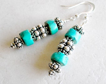 Turquoise Sterling Silver Earrings Southwestern Style Metaphysical Healing Stone