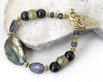 Faceted Labradorite Bracelet Iolite Antique Kurdi Brass Boho Jewelry Metaphysical Healing Stones