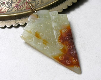 Carved Nephrite Jade Pendant Gold Filled Wire Wrapped Chevron Metaphysical Healing Stones