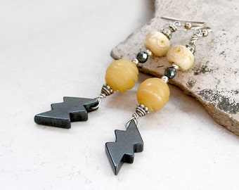 Lightening Bolt Earrings Native American Vintage Carved Hematite Sterling Silver Boho Jewelry Metaphysical Healing Stone