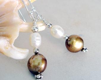 Pearl Earrings Boho Chic Wedding Jewelry Freshwater Pearls Sterling Silver Trending Bridal Jewelry