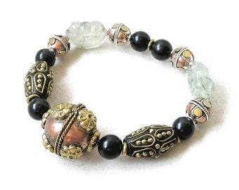 Ethnic Bracelet, Stretch Beaded Bracelet, Mixed Metals, Unique Ethnic Beads, Gemstone Bracelet, Healing Stones, Gift For Her