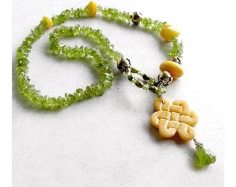 Peridot Necklace Lariat August Birthstone Baltic Amber Yellow Jade Metaphysical Healing Stones