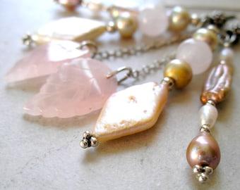 Rose Quartz Earrings Freshwater Pearls Sterling Silver June Birthstone Metaphysical Healing Stones