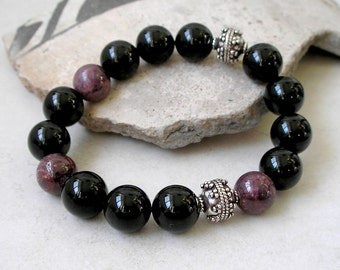 Unisex Gemstone Bracelet Ruby Black Onyx Sterling Silver Stretch July Birthstone Metaphysical Healing Stones