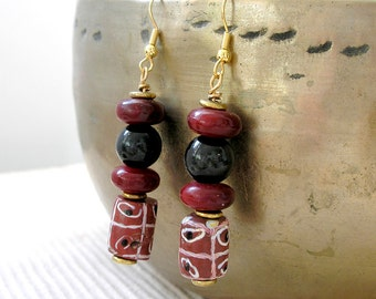 African Trade Bead Earrings Blue Tiger Eye Gemstone Red Horn Wire Wrapped