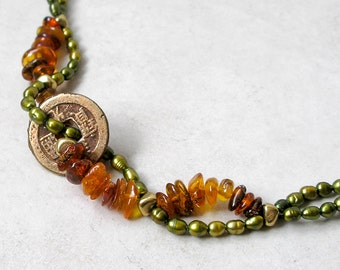 Ancient Coin Bracelet Baltic Amber Freshwater Pearls Custom Made Metaphysical Healing Stones