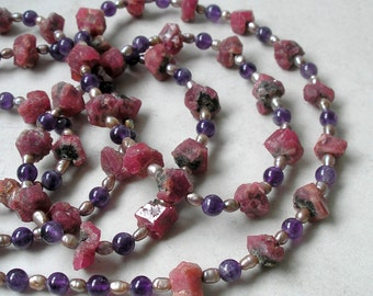 Amethyst Pearl Garnet Rope Necklace, Garnet Crystals, Birthstones Jewelry, Wearable Art, Statement Jewelry, Gift For Her
