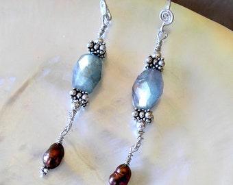 Labradorite Earrings Sterling Silver Fresh Water Pearl Metaphysical Healing Stones