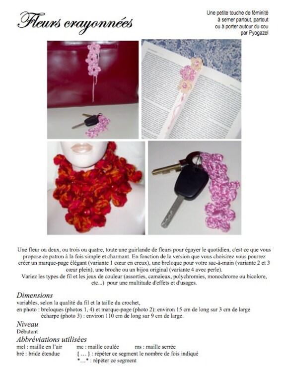 Fleurs Crayonnées Patron Au Crochet Pour Un Marque Page Une écharpe Une Breloque