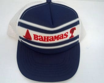 vintage white mesh snapback adjustable trucker hat Bahamas front travel  souvenir white blue red beach wear unisex headwear cap 57d69358a851