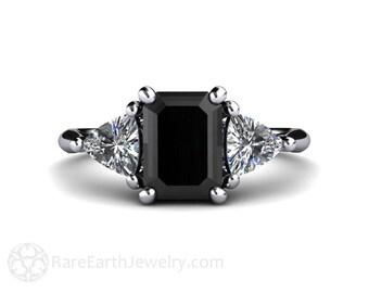 Black diamond engagement ring   Etsy