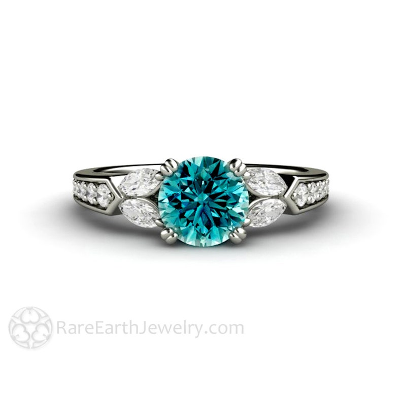 2fb67d797daeb6 Blue Diamond Engagement Ring Vintage Style 1 carat Solitaire   Etsy