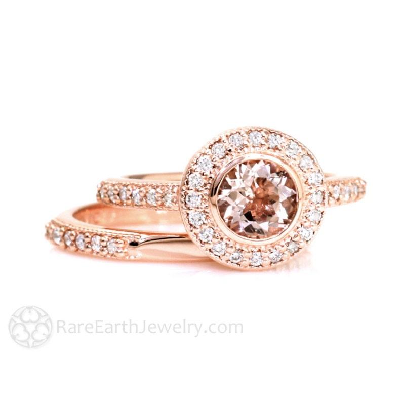 Morganite Wedding Set.Bezel Morganite Wedding Set Engagement Ring Morganite Ring Diamond Halo 14k Or 18k Gold Peach Gemstone Ring Vintage Bridal Set