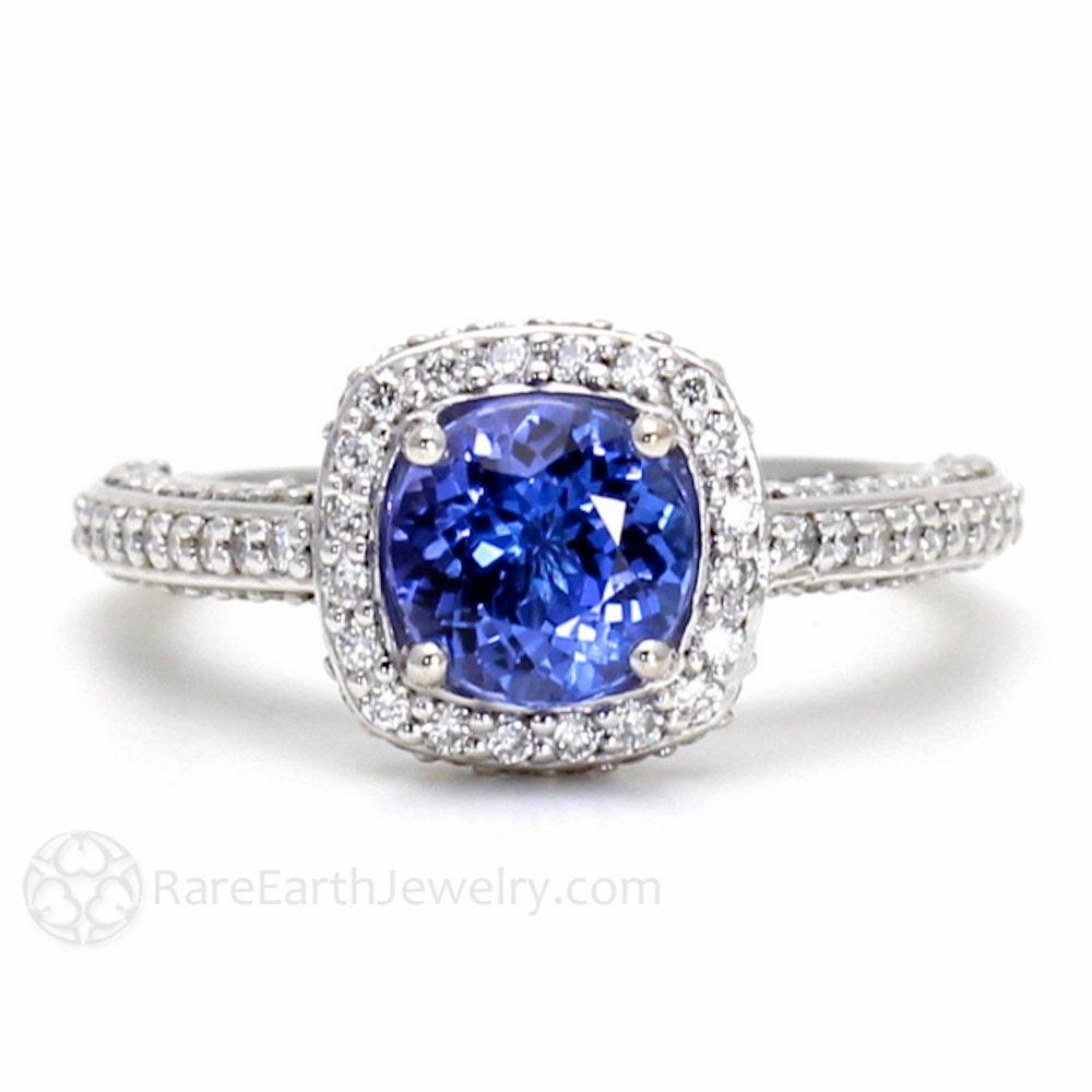 Tanzanite Ring Tanzanite Engagement Ring Diamond Halo 14K ...