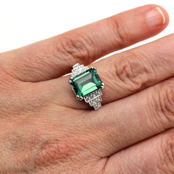 Vintage Ring Art Deco Smaragd Ring Mit Diamanten Etsy