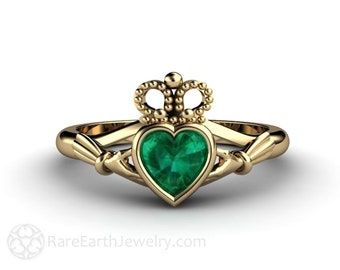 Emerald Claddagh Ring Celtic Jewelry Engagement Ring Irish Promise Ring 14K or 18K Gold or Platinum