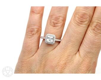 1ct Princess Diamond Engagement Ring Platinum Conflict Free Square Diamond Halo Unique Engagement