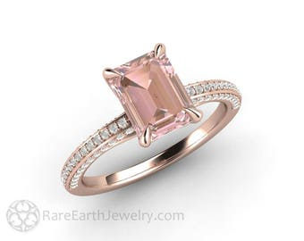 Light Pink Sapphire Engagement Ring Emerald Cut Solitaire with Pave Diamonds Pastel Pink Peach Sapphire Ring with Thin Band and Claw Prongs