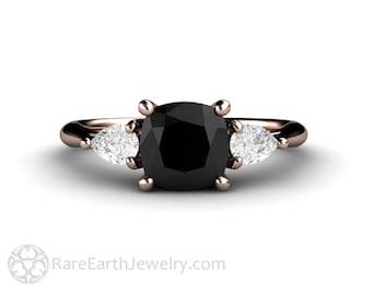 Cushion Cut Black Diamond Engagement Ring 3 Stone Vintage Black Diamond Ring Bespoke Engagement 14K or 18K Gold or Platinum
