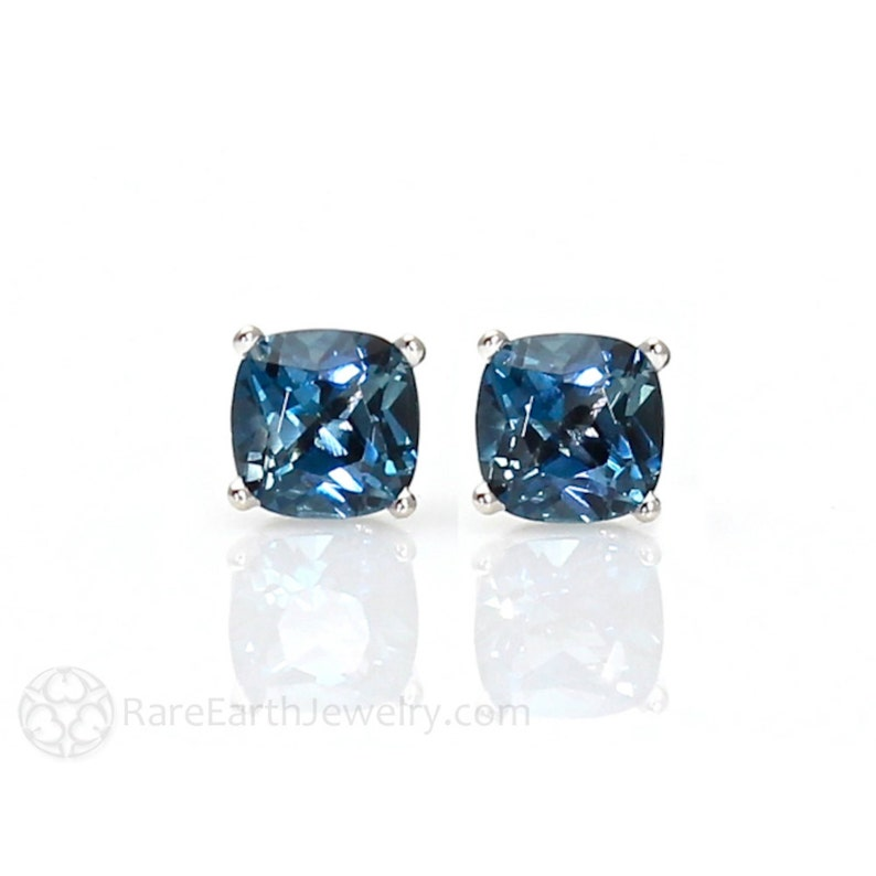7ec4d8a4c16f 14K London Blue Topaz Earrings 5mm 6mm or 8mm Studs Cushion