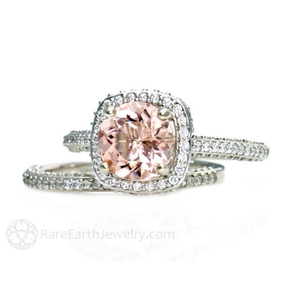 Morganite Wedding Set.Platinum Morganite Bridal Set Diamond Halo Morganite Engagement Ring Wedding Ring