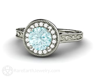 Blue Engagement Ring Moissanite Ring Antique Style Diamond Halo Vintage Design with Filigree and Milgrain