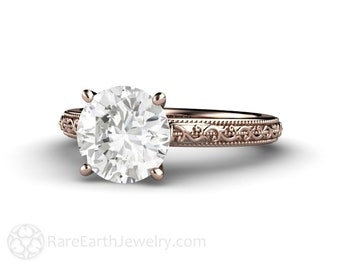 2ct Moissanite Solitaire Engagement Ring Vintage Style Forever One Moissanite Ring with Filigree and Milgrain 14K or 18K Gold or Platinum
