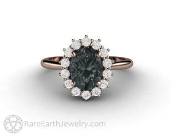 Oval Gray Moissanite Engagement Ring Dark Grey Vintage Style Cluster Halo Moissanite Ring 14K or 18K Gold or Platinum